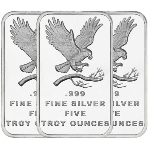 TRADEMARK EAGLE 5 OZ QTY OF 3-.999 FINE SILVER BAR BY SILVERTOWNE