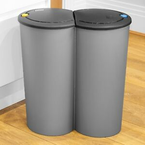 Black Circular Double Recycling Waste Bin Duo Rubbish Plastic Disposal 2 X 25l