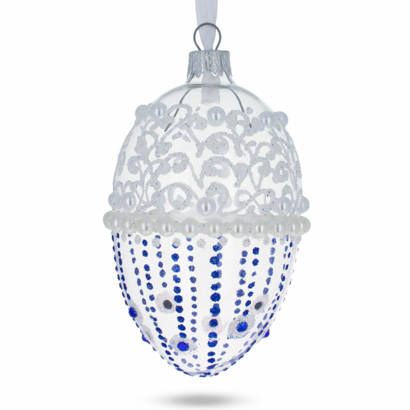 Pearls on Frosted Glass Egg Ornament