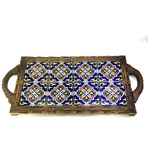 Orion Monterrey Mexico 8 Tile Trivet Serving Tray Carved Wood Frame Vintage