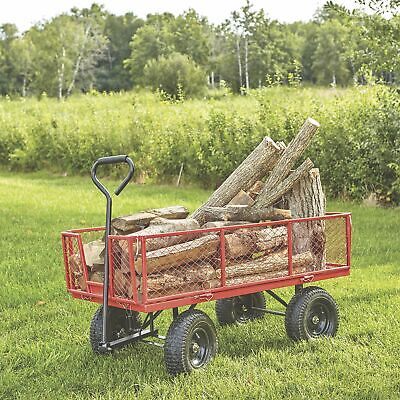 - Jumbo Steel Mesh Detachable Sides Pull Garden Utility Wagon- 1400-Lb. Cap. Red