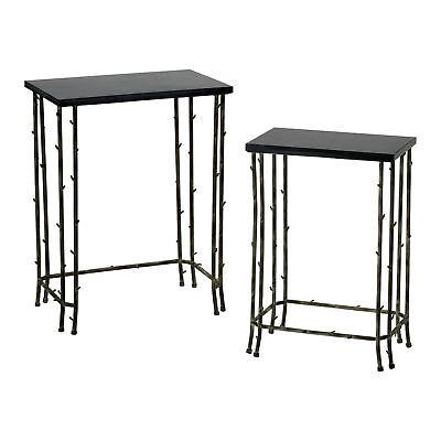 Bamboo Nesting Tables Granite & Iron Set of 2