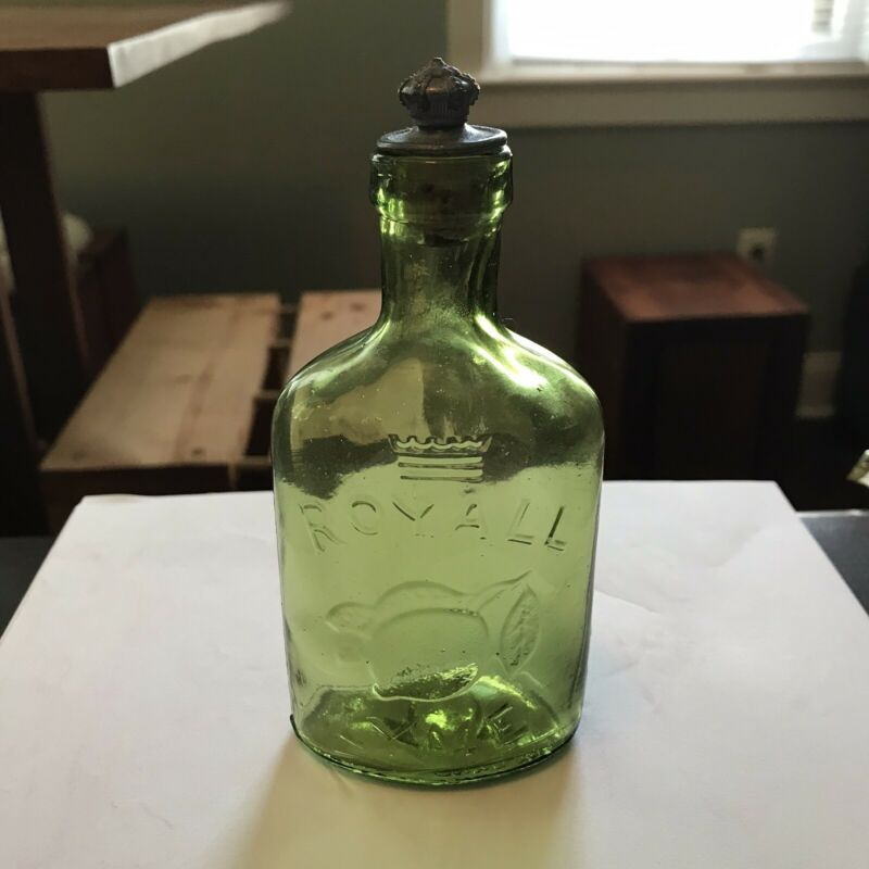 Vintage Citron Glass Royall Lime Bottle Pewter Crown Top Embossed