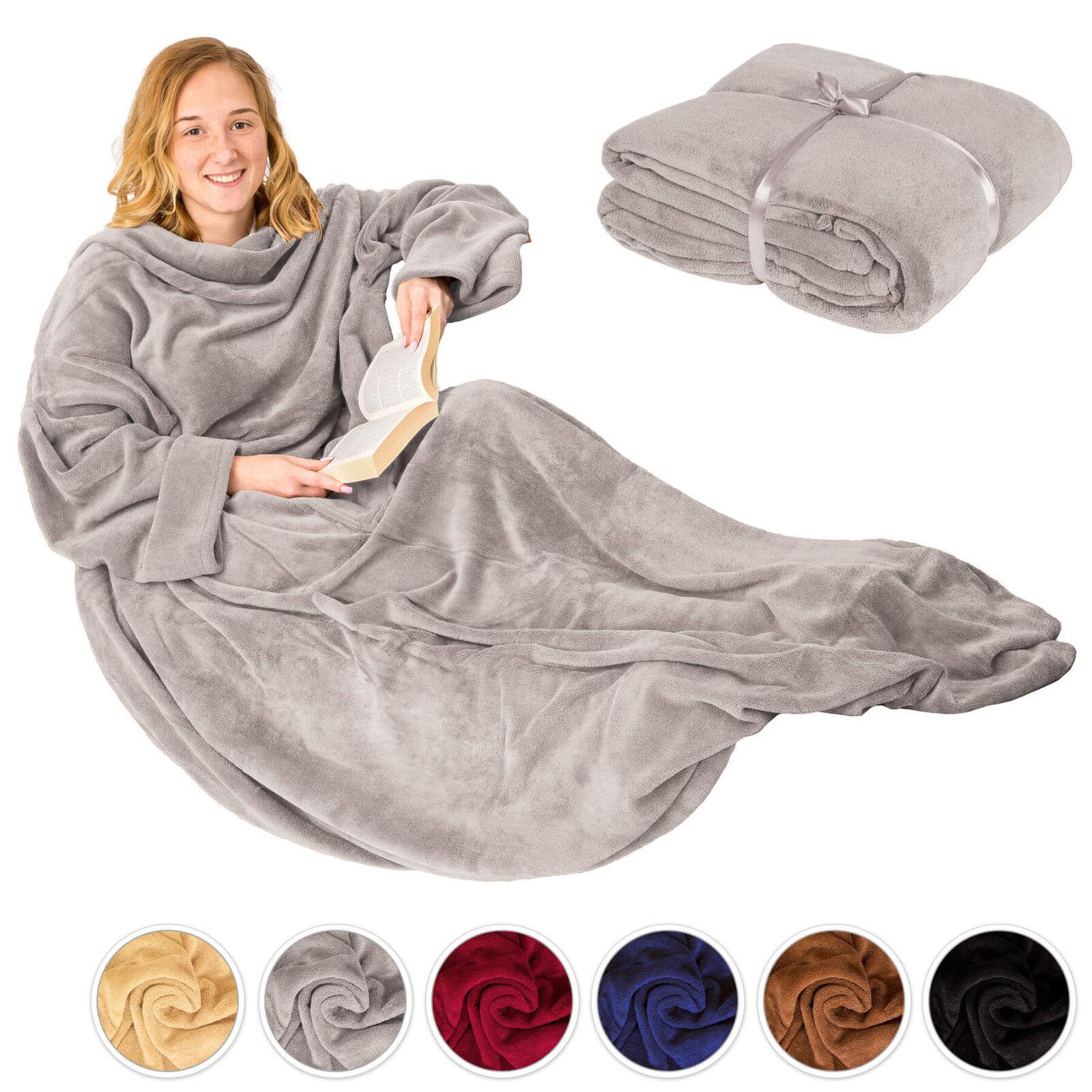 Coperta con tasche le maniche soffice dormire divano copriletto tasca del mobile