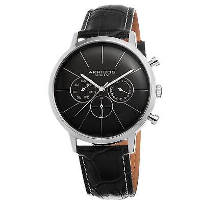 New Men's Akribos XXIV AK647SS Swiss Quartz Multifunction Black Leather Watch