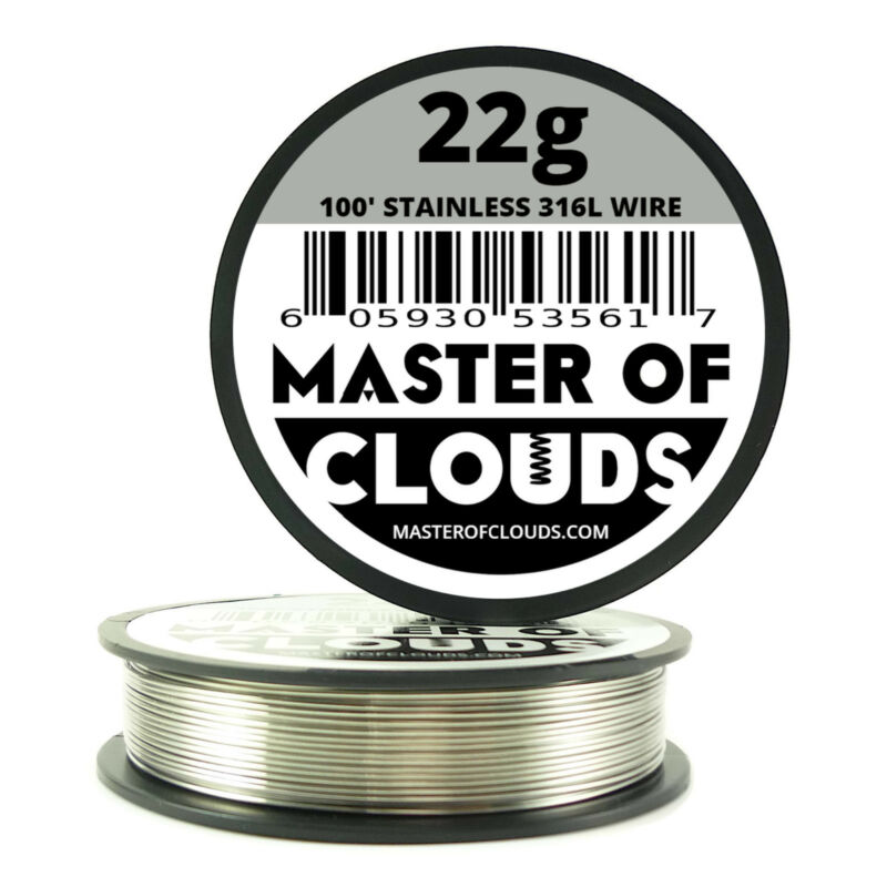 SS 316L - 100 ft. 22 Gauge AWG Stainless Steel Resistance Wire 0.64 mm 22g 100'