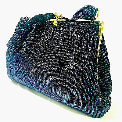 RARE Vintage Gucci Purse Kelly Beaded Hand Bag Evening Formal Blue 50s Authentic