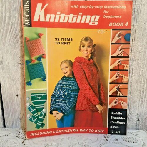 McCalls Knitting Patterns 1968 Beginners Instructions Patterns Book 4 Vtg 60s