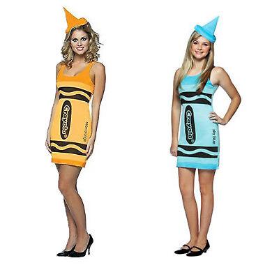 Rasta Imposta Womens Crayola Crayon Tank Dress with Hat Halloween Costume