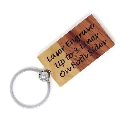 Rectangle Maple Rosewood Key Chain - Custom Engraved Wood - Choose Font - USA