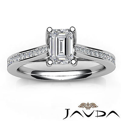 Trellis Style Emerald Cut Diamond Engagement Channel Bezel Ring GIA I VS2 1.01Ct 3