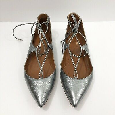 AQUAZZURA Christy Silver Metallic Lace-Up Pointed Toe Flats Size 38
