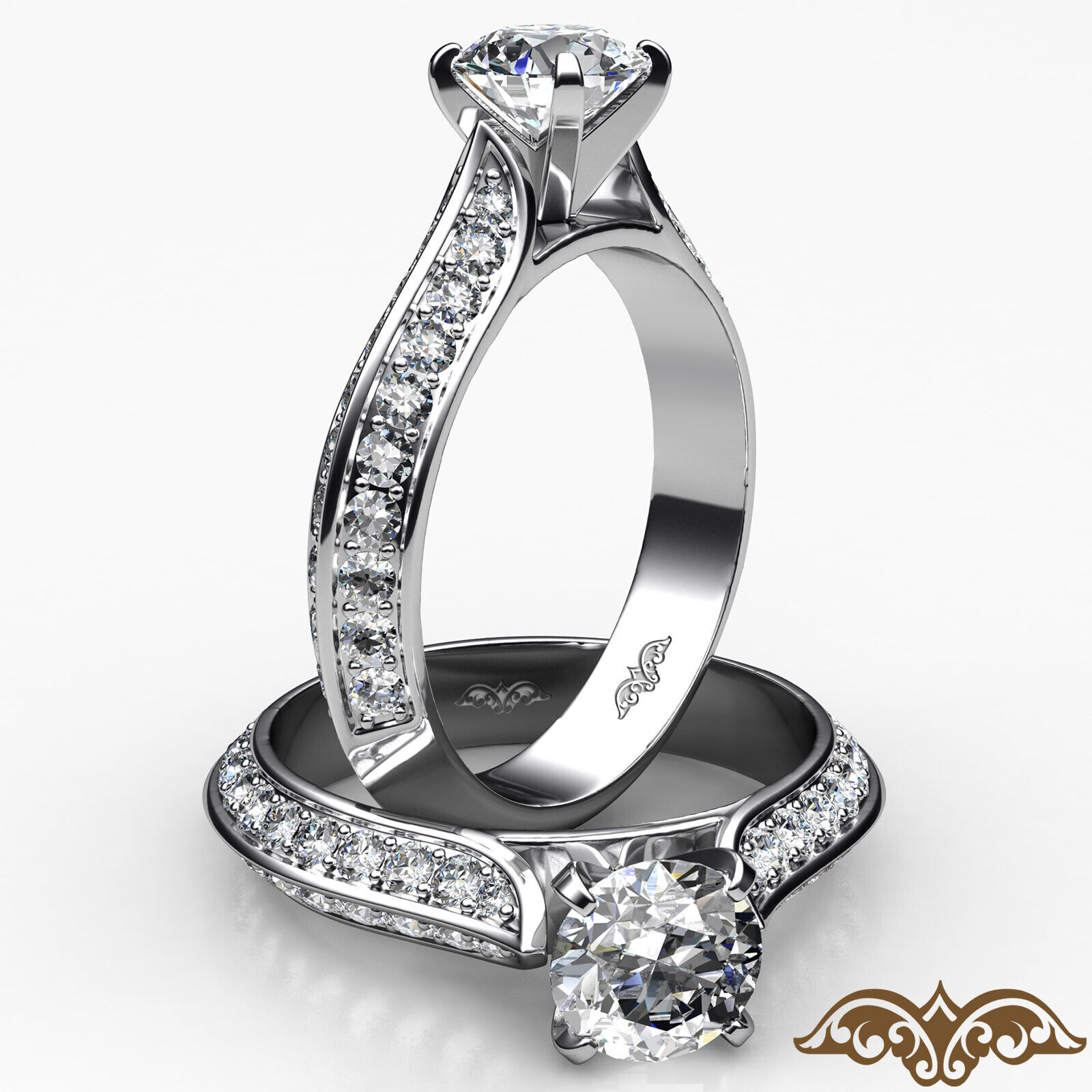 2 Row Pave Shank Sidestone Round Diamond Cathedral Engagement Ring 1.35ctw.