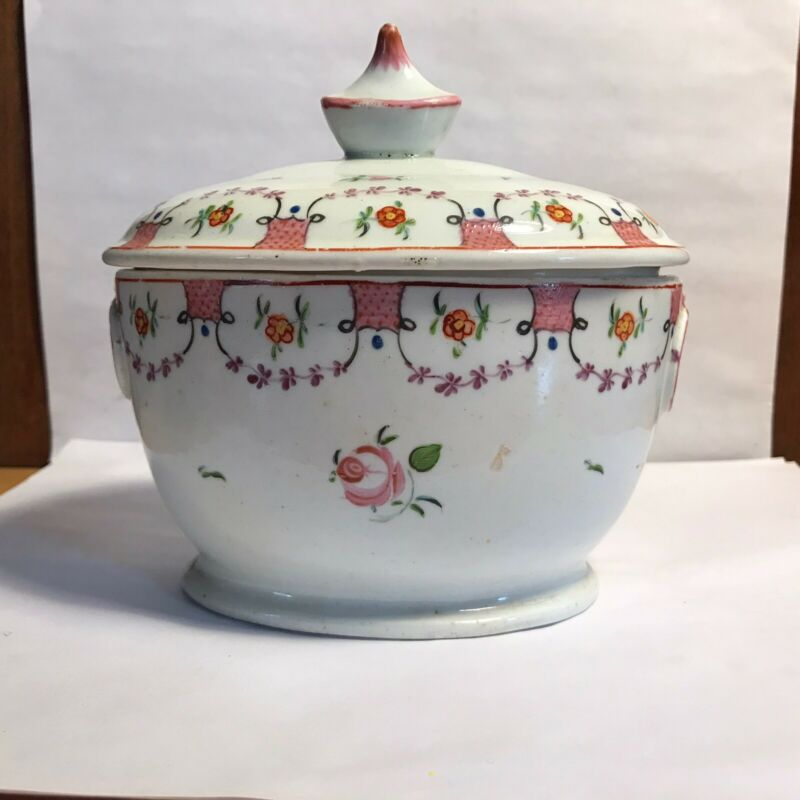 Antique English Soft Paste Sugar Bowl With Lid