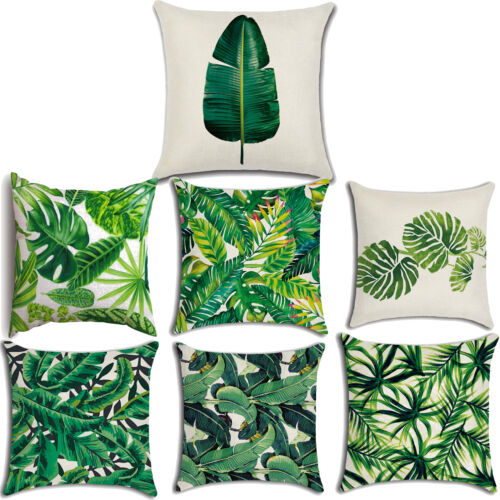 """18"""" Tropical Plant Green Leaves Pillow Case Cushion Cover Ca"""