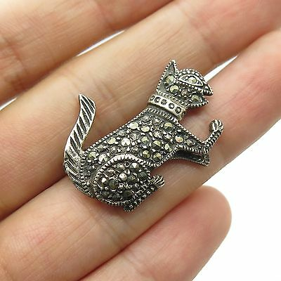 Vtg 925 Sterling Silver Real Marcasite Gemstone Cat Pin Brooch