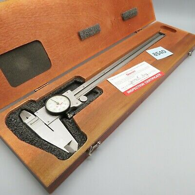 Starrett 120z-12 Dial Caliper Machinist Tool Wooden Case And Original Box