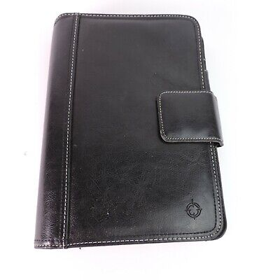Franklin Covey Black Leather Textured Planner Magnetic 7 Ring Binder Muliple Poc