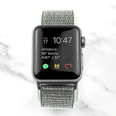 Apple Watch Series 2 38mm Space Gray Aluminium Case Olive Nylon Loop GPS