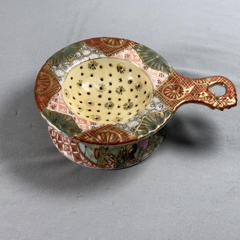 Vtg Porcelain Tea Strainer Signed Oriental Asian Japanese Gold Detail