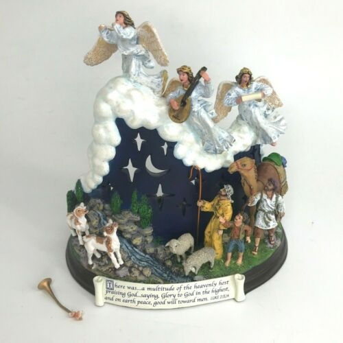Danbury Mint Nativity Votive Candle Holder Christmas Angels Shepherds Home Decor