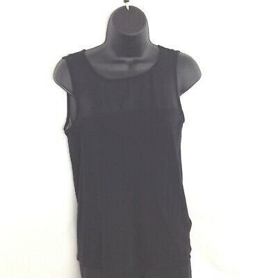 Black Sleeveless Medium Sheer Top Velvet Keyhole Back Button Blouse H & M Womens