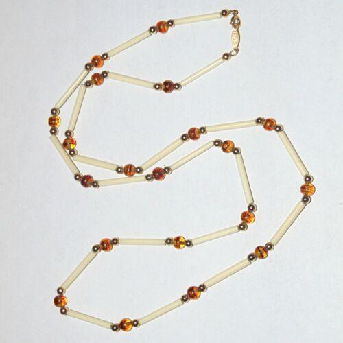 "Vintage signed Napier cream color tube beads faux tortoise necklace 30"" long"