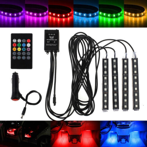 Car Parts - 4XRGB 7Color 5050 SMD LED Neon Strip Light Music Remote Control For Car Interior