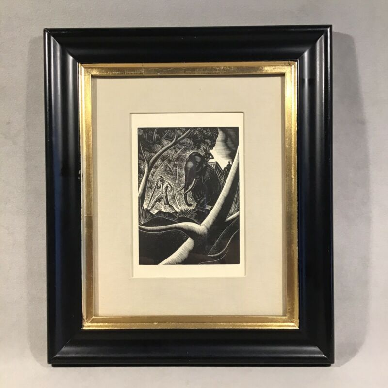 PV07045 Vintage Framed Black & White Wood Block Style Book Plate ELEPHANT SAFARI