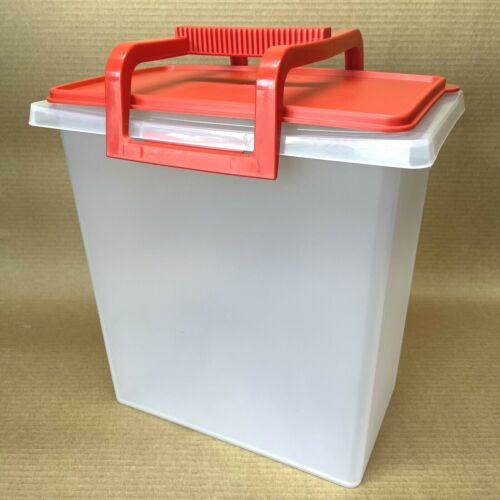 Tupperware Carry All Large Tote Storage Container + Handle Red #1430 New