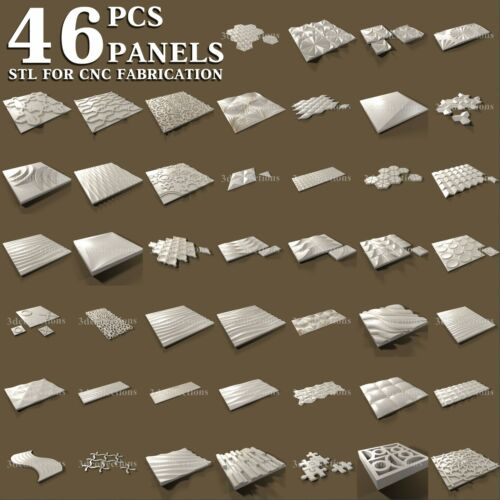 3d stl model cnc router artcam aspire 46 pcs panel collection