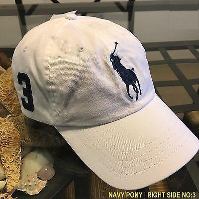 POLO RALPH LAUREN MEN'S WHITE BIG PONY 1 SIZE ADJUSTABLE BASEBALL CAP HAT NWT