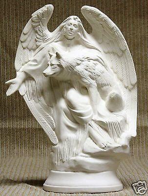 Ceramic Bisque Angel with Wolf Doc Holliday Mold 1645 U-Paint Ready To Paint