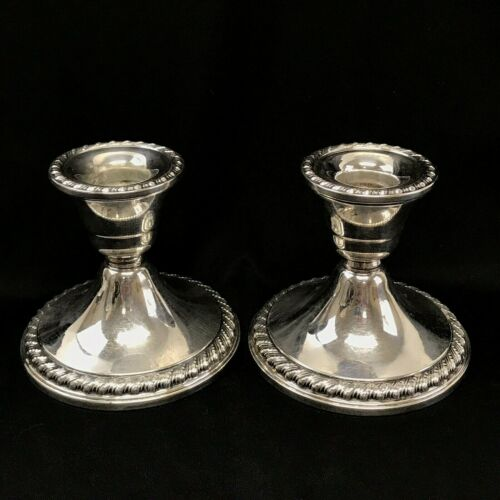 Pair of Rogers Sterling Silver Candlestick / Candle Holders, Set of 2 #1901