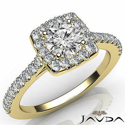 Halo Round Cut Diamond Engagement Shared Prong Set Ring GIA Certified D SI1 1Ct