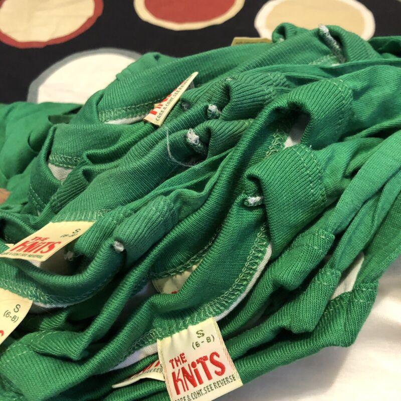 Lot Of 34 VTG Shirts Blank Raglan Ringer Green The Knits Youth S Kids 70 80s NOS