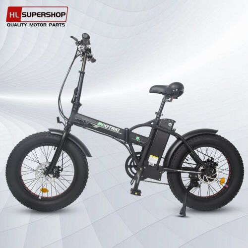 black folding electric fat tire bike beach