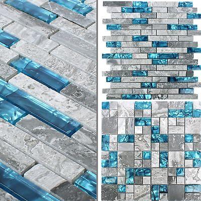MUSTER Glasmosaik Natursteinfliesen Sinop Grau Blau   Bad Küchenspiegel Bordüre