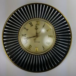 Vintage Westclox Electric Mid Century Atomic Wall Clock Orbit Model S8-S