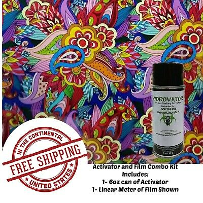 Hydrographic Water Transfer Hydro Dip 6oz Activator Flower Pattern A Film Kit
