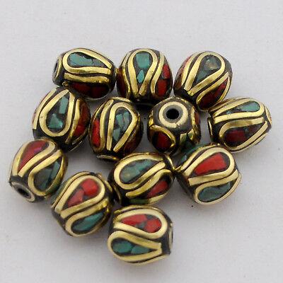Turquoise Coral Brass 12 Beads Tibetan Nepalese Handmade Tibet Nepal UB2570