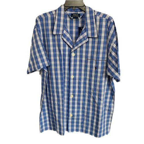 Polo Ralph Lauren Woven Pajama S/S Top Shirt L Plaid Blue Cotton Sleepwear Clothing, Shoes & Accessories