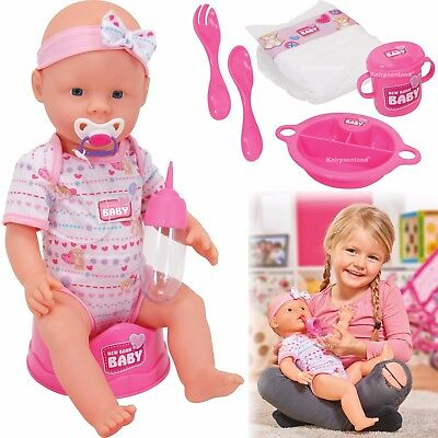 New Born Baby Puppe 43 cm Babypuppe Trink- & Nässfunktion Simba viel Zubehör Fun