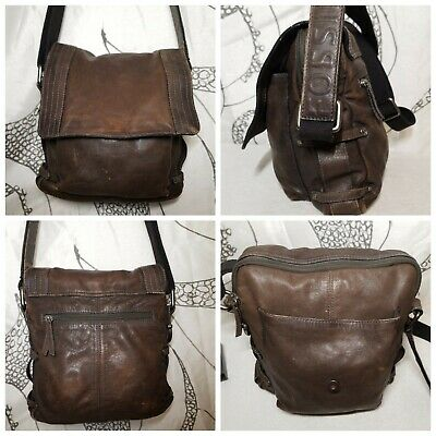 Fossil Brown Distressed Leather Crossbody Shoulder Wide Strap Bag Purse Rustic!