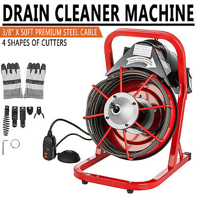50ft X 38 Electric Drain Auger Cleaner Machine Snake Sewer Clog W 5 Cutter