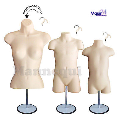 3 Mannequin Torsos -flesh Female Child Toddler Body Forms 3 Stands 3 Hangers