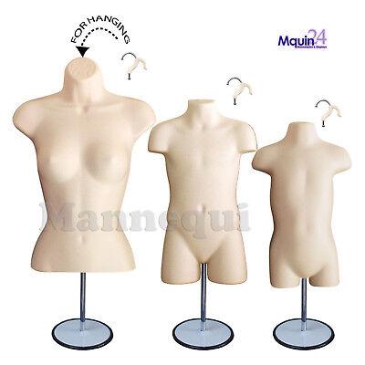 3 Mannequin Torsos -flesh Female Child Toddler Body Forms 3 Stands 3 Hangers