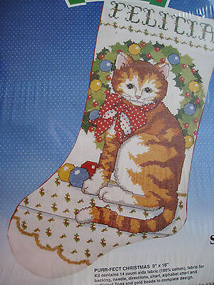 Good Shepherd Counted Cross Stocking Kit,PURR-FECT (Purr Fect Cat Stocking)