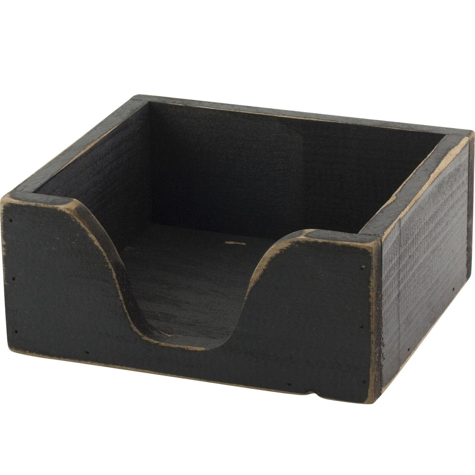 Details About Primitive Black Wood Box Napkin Holder Farmhouse Rustic Country Decor
