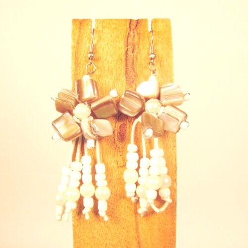 Wholesale Lot 6 PCS Handmade Beaded Shell Flower Earrings 6 COLORS